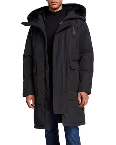 Men's Faux Fur-Lined Long Parka Coat