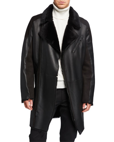 Men's Shearling Asymmetrical Long Jacket