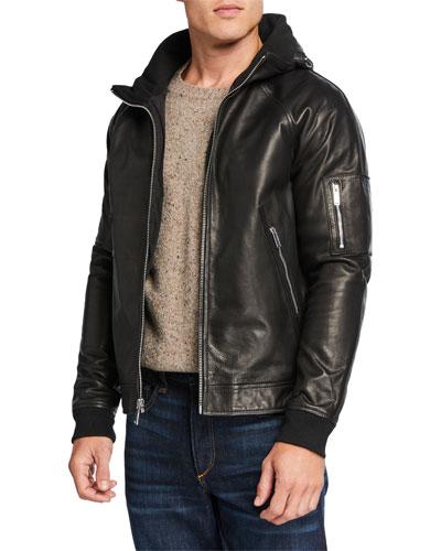 Men's Leather Jacket w/ Packaway Hood