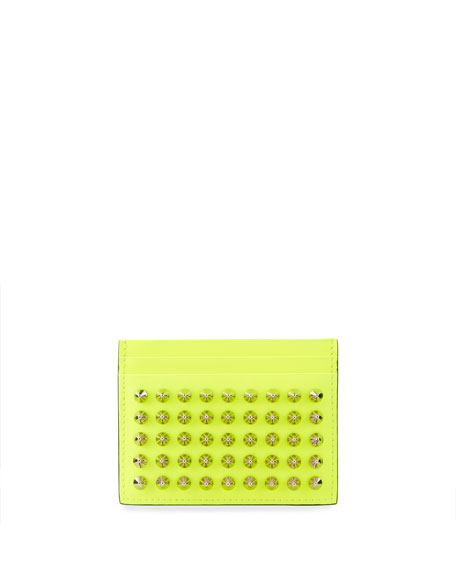 Christian Louboutin Men's Spiked Fluo Leather Card Case