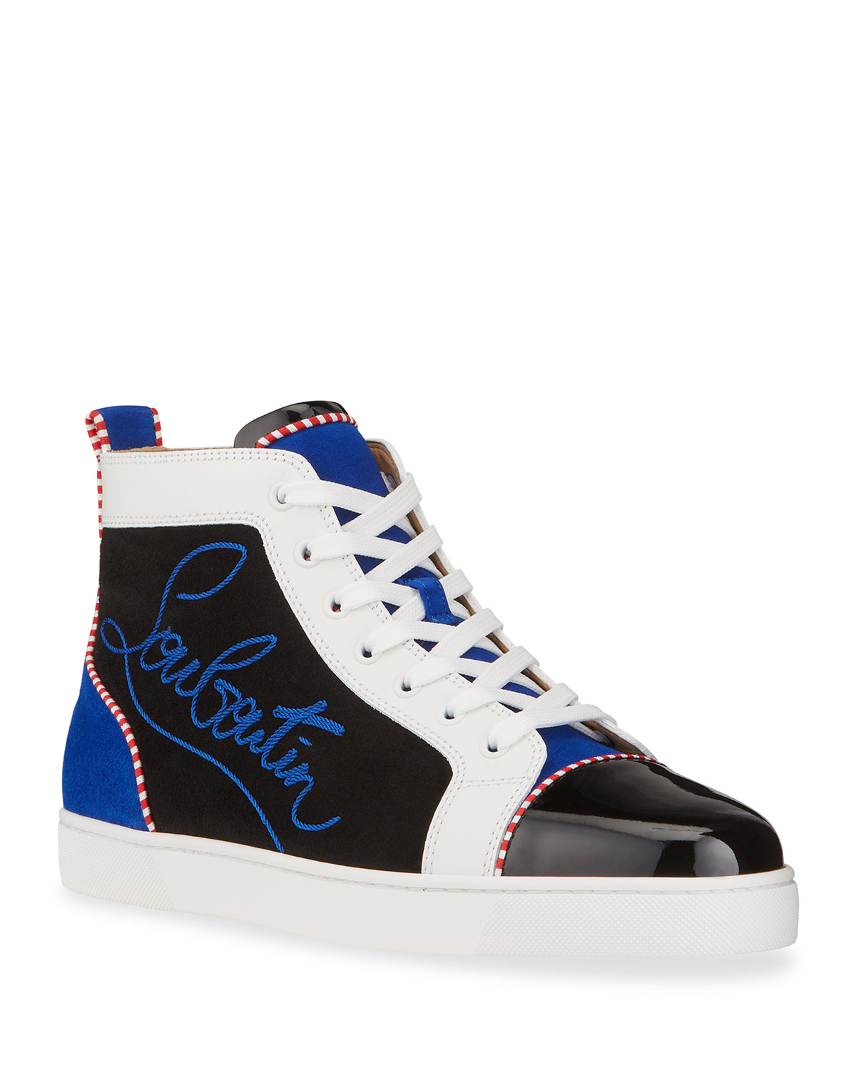 Christian Louboutin MEN'S LOUIS LEATHER/SUEDE HIGH-TOP SNEAKERS