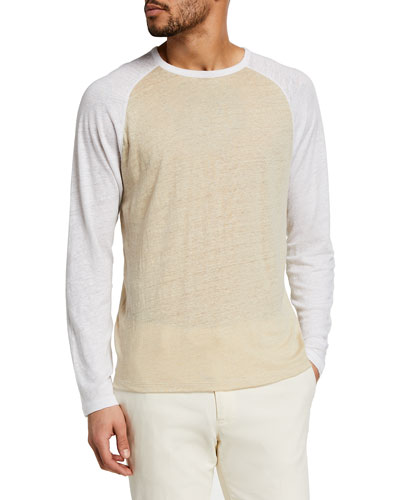 Men's Linen Baseball Crewneck T-Shirt