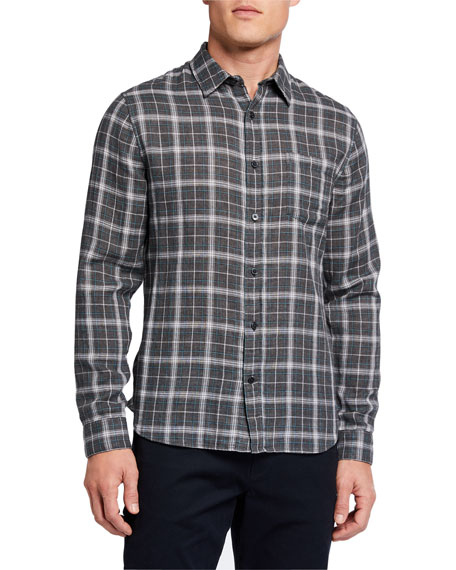 Vince Men's Plaid Double-Face Sport Shirt