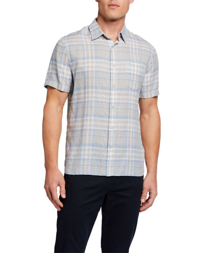 Men's Plaid Short-Sleeve Linen Sport Shirt