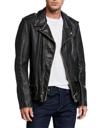 Men's Aged Cowhide Leather Jacket