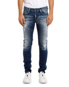 Diesel Men's Sleenker Skinny Stretch-Denim Jeans w/ Paint