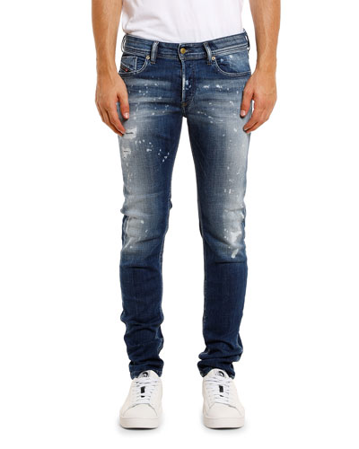 Men's Sleenker Skinny Stretch-Denim Jeans w/ Paint Splatter
