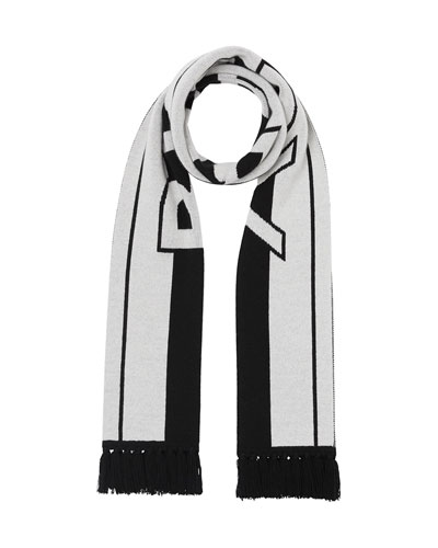 Men's Two-Tone Striped Logo Scarf