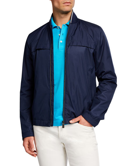 Canali Men's Solid Tipped-Collar Blouson Jacket