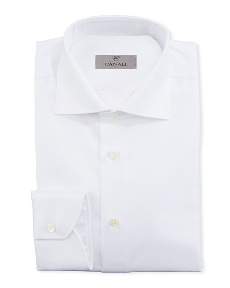 Canali Men's Solid Diamond-Weave Dress Shirt
