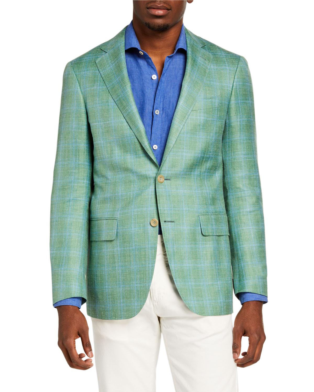 Men's Plaid Wool-Blend Sport Jacket