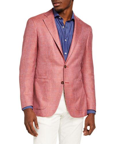 Men's Silk-Cashmere Check Sport Jacket