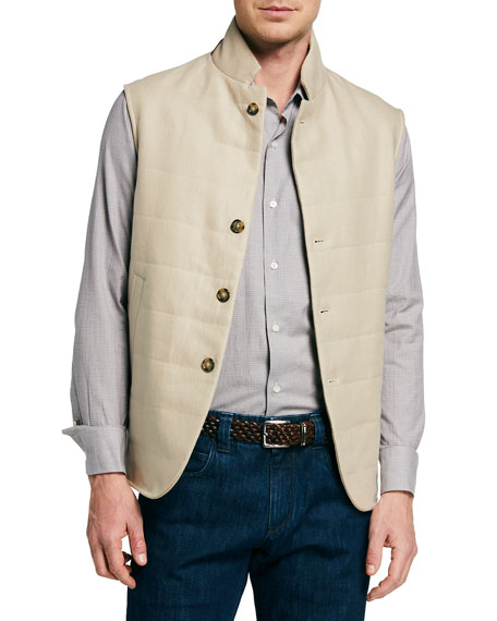 Loro Piana Men's Padded Cotton Button-Front Vest