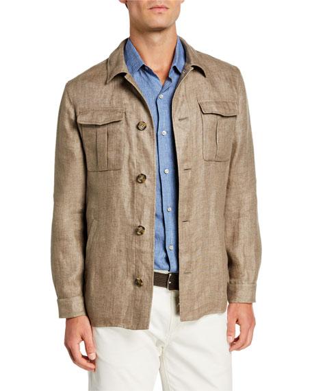 Loro Piana Men's Solid Linen Shirt Jacket