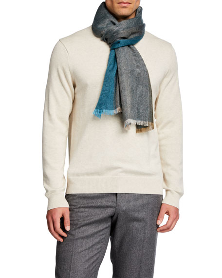 Loro Piana Men's Striped Chevron Cashmere Scarf
