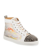 Christian Louboutin Men's Lou Spikes Orlato Flame High-Top