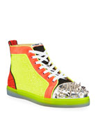 Christian Louboutin Men's No Limit Spiked Neon High-Top