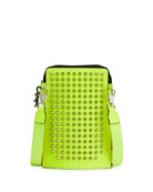 Christian Louboutin Men's Loubilab Spiked Fluo Leather Crossbody