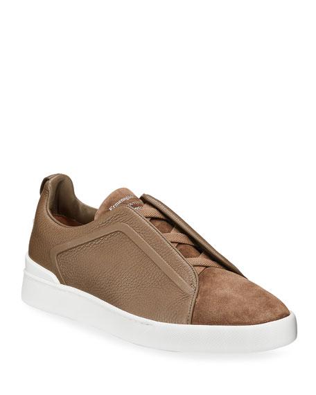 Ermenegildo Zegna Men's Triple-Stitch Leather & Suede Sneakers