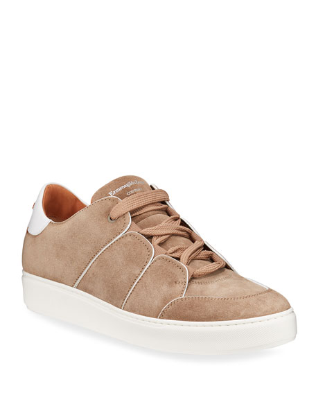 Ermenegildo Zegna Men's Paneled Suede Low-Top Sneakers