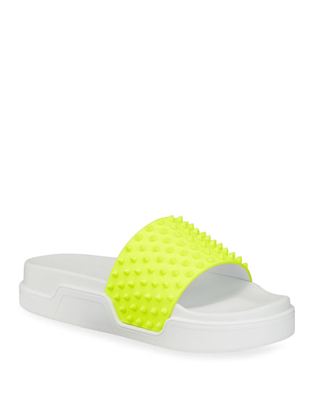 Christian Louboutin Men's Pool Fun Spiked Red Sole Slide Sandals