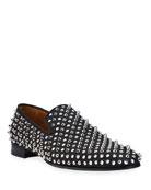 Christian Louboutin Men's Dandelion Crystal Studded Slip-Ons