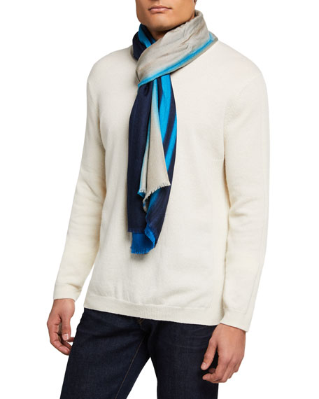 Loro Piana Men's Striped Cashmere-Blend Scarf