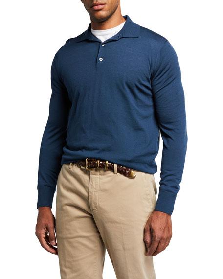 Loro Piana Men's Long-Sleeve Wool Polo Shirt