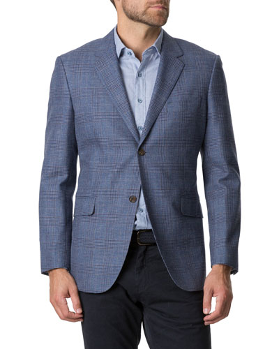 Men's Challis Plaid Two-Button Jacket