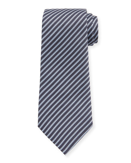 Ermenegildo Zegna Men's Narrow Stripe Silk Tie, Blue