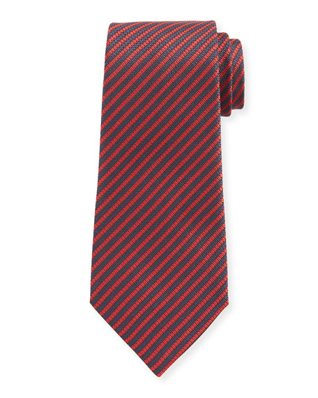 Ermenegildo Zegna Men's Narrow Stripe Silk Tie, Red