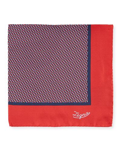 Men's Micro-Geometric Silk Pocket Square, Red