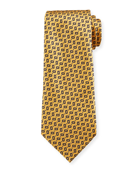Ermenegildo Zegna Men's Small Rectangles Silk Tie, Yellow