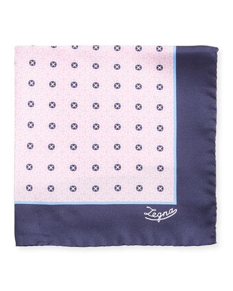 Ermenegildo Zegna Men's Round Medallions Silk Pocket Square, Pink