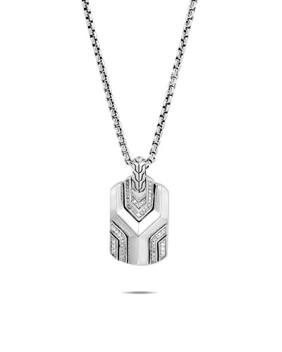 Men's Asli Classic Chain Link Pendant Necklace w/ Diamond Pave