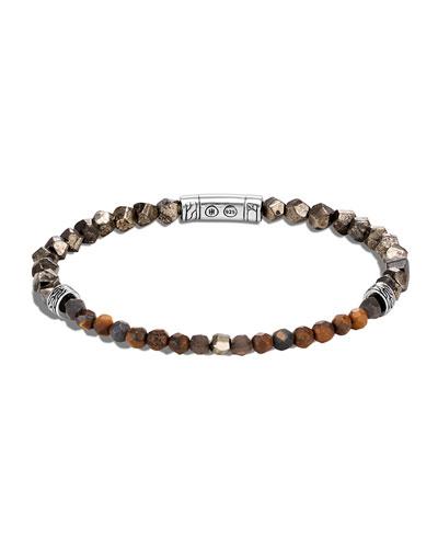 Men's Classic Chain Beaded Silver Bracelet, Size S