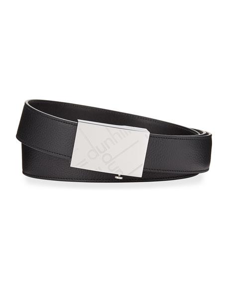 dunhill Men's Grained Leather Logo-Buckle Belt
