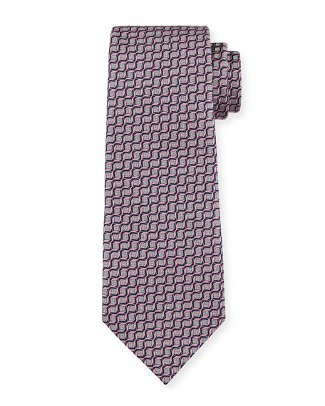 Ermenegildo Zegna Men's Intertwined Silk Tie, Pink