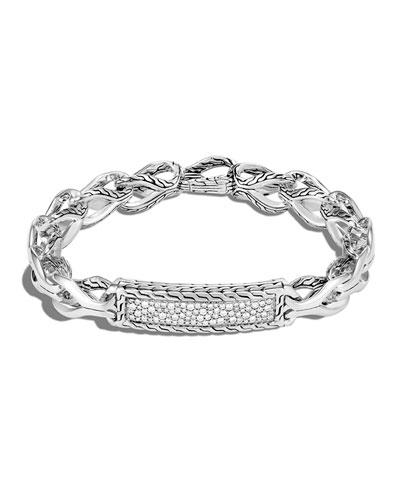 Men's Asli Classic Chain Diamond Pave ID Bracelet, Size S