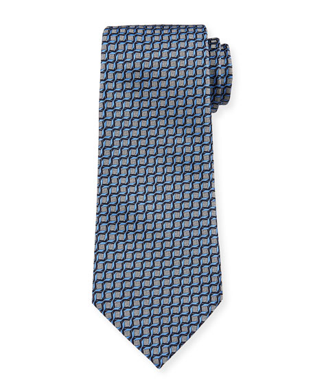 Ermenegildo Zegna Men's Intertwined Silk Tie, Blue