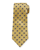 Ermenegildo Zegna Men's Framed Squares Silk Tie, Yellow