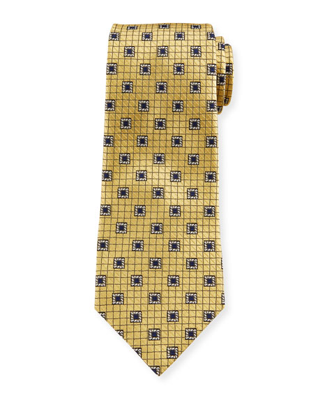 Ermenegildo Zegna Men's Framed Squares Silk Tie, Yellow