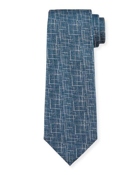 Ermenegildo Zegna Men's Scratch-Print Silk Tie, Blue