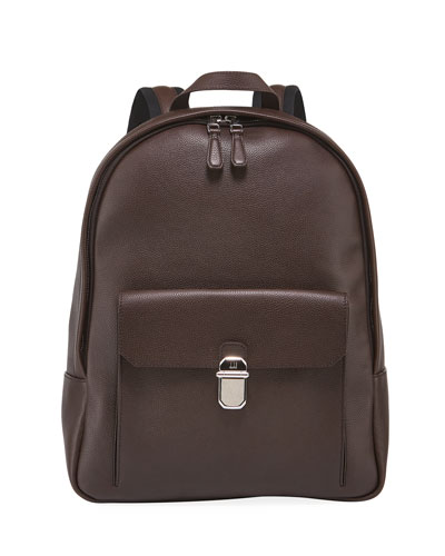 Men's Belgrave Leather Backpack with Push-Lock Pocket