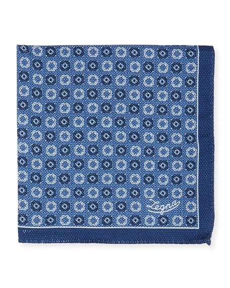 Ermenegildo Zegna Men's Double-Face Silk Pocket Square, Blue