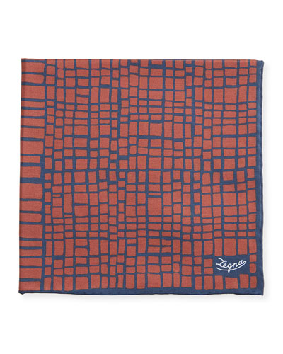 Men's Graphic Cotton-Silk Pocket Square, Red