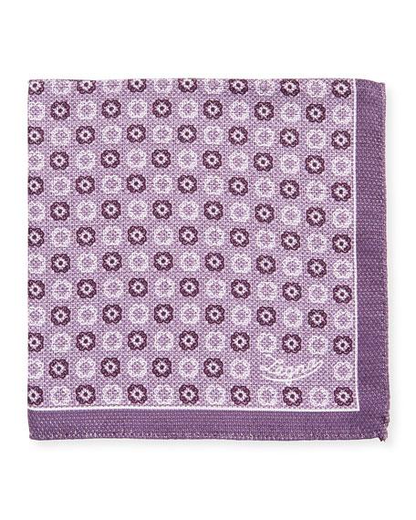 Ermenegildo Zegna Men's Double-Face Silk Pocket Square, Purple