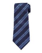 Ermenegildo Zegna Herringbone Stripe Silk Tie, Blue