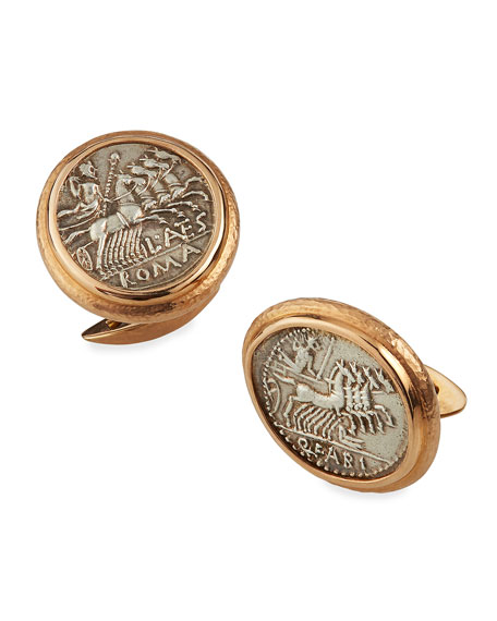Jorge Adeler Men's 18k Rose Gold Ancient Jupiter Coin Cufflinks