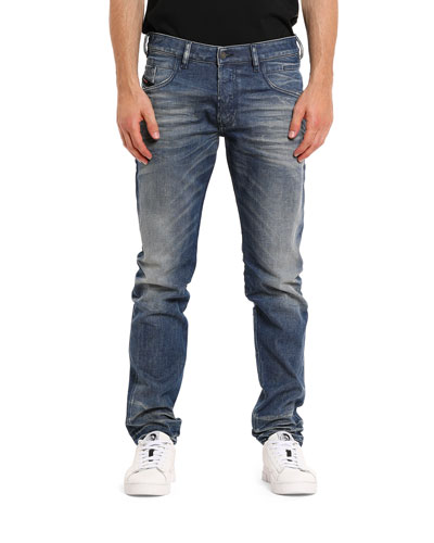 Men's D Bazer Straight-Leg Whiskered Jeans